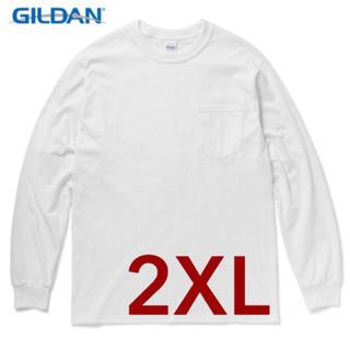 ギルタン(GILDAN)の【新品】 GILDAN 6oz 無地長袖ロンT ポケット付き ホワイト XXL(Tシャツ/カットソー(七分/長袖))