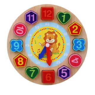 ライオン 時計パズル 紐通し モンテッソーリ 知育 数字 パズル 木製 おもちゃ(知育玩具)