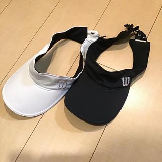 ウィルソン(wilson)のウィルソン サンバイザー テニスに 白黒2つセット(ウェア)