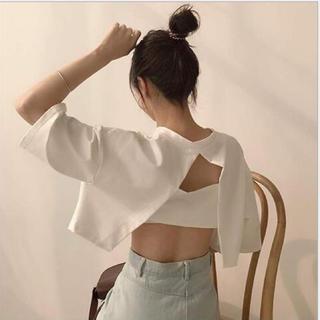 スタイルナンダ(STYLENANDA)の値下げ☆新品未使用☆韓国ファッション☆半袖バッグオープンTシャツ(Tシャツ(半袖/袖なし))
