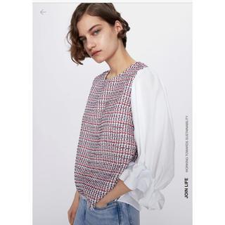 ザラ(ZARA)のZARAコントラストツイードシャツ(シャツ/ブラウス(長袖/七分))