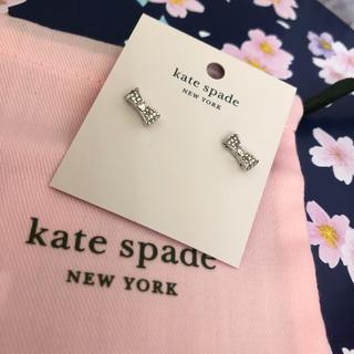 ケイトスペードニューヨーク(kate spade new york)のケイトスペード 激かわ シルバー ピアス リボンスワロフスキー ブランド新品(ピアス)