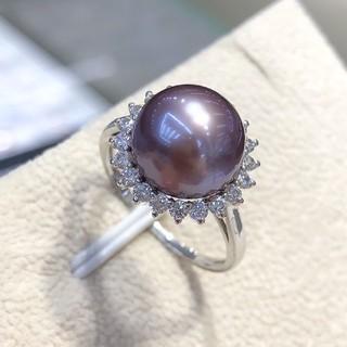 【高級】天然淡水真珠 サンフラワーリング10-11mm k18(リング(指輪))