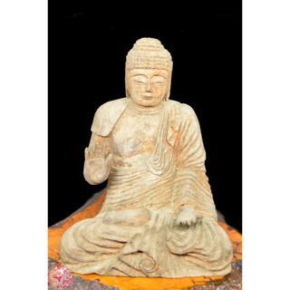 古美術 釈迦様像木彫り 置物 釈迦如来 古仏像 年代保証 入手困難WWWT013(彫刻/オブジェ)