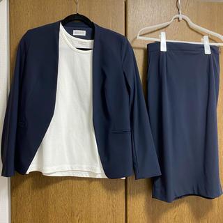 プラステ(PLST)のナイロントリコットカラーレスジャケット、スカートセットアップ(スーツ)