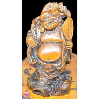 古美術 布袋様像 七福神 黄楊(柘植)木彫り 置物 極上唐物古仏像WWWT014(彫刻/オブジェ)