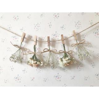 かすみ草とパステルサーモンピンクのバラのホワイトドライフラワーガーランド♡(ドライフラワー)