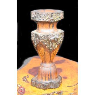菊花木 刳り貫き花器壺 極上華道具 年代保証 一輪花入れ 銘木 WWWT016(彫刻/オブジェ)