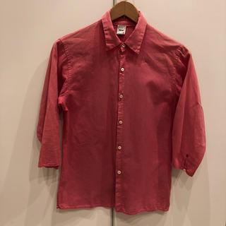 フォーティーファイブアールピーエム(45rpm)の45rpmアールピーエムコットン100%リネン風半袖シャツ濃いピンクサイズ3(シャツ/ブラウス(長袖/七分))