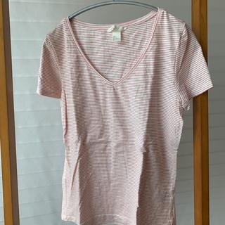 エイチアンドエム(H&M)のVネック赤ボーダーTシャツ(Tシャツ(半袖/袖なし))