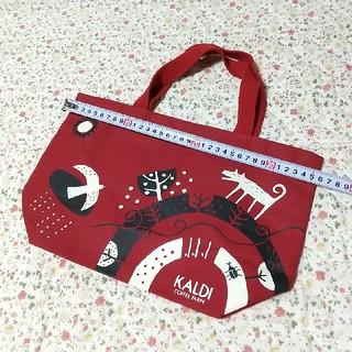 カルディ(KALDI)のKALDI トートバッグ 赤(ノベルティグッズ)