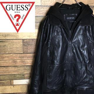 ゲス(GUESS)の【激レア】ゲス レザージャケット ダブルジップ フード切替 ブラック(ライダースジャケット)