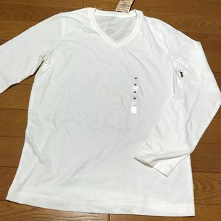 MUJI (無印良品) - 無印良品 白色 ホワイト Vネック長袖Tシャツ M 未使用