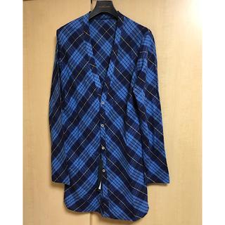 イサムカタヤマバックラッシュ(ISAMUKATAYAMA BACKLASH)の極美品バックラッシュ定価4.9万円シルクコットン製品洗いロングカーディガン青M(カーディガン)