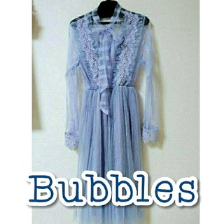 バブルス(Bubbles)のバブルス ストライプレースリボンタイワンピ Bubbles 夢かわ ラルム系(ロングワンピース/マキシワンピース)