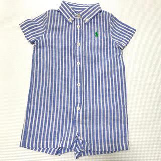 ラルフローレン(Ralph Lauren)の美品 ラルフローレン 半袖 ロンパース ストライプ 夏 夏服 ボタン 青 水色 (ロンパース)
