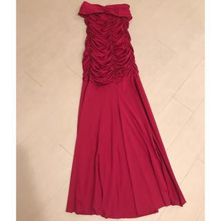 ザラ(ZARA)のレッド スリット ドレス ワンピース(ロングドレス)