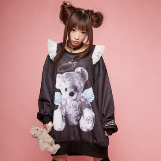 MILKBOY - TRAVAS TOKYO Angel bearショルダーフリルスウェット クマ