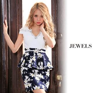 ジュエルズ(JEWELS)のjewels デコルテビジュー ペプラムミニドレス キャバドレス(ミニドレス)