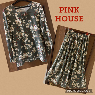 PINK HOUSE - PINK HOUSE イチゴ花柄セットアップ カットソー スカート カーキ