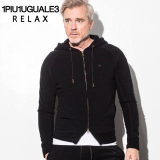 ウノピゥウノウグァーレトレ(1piu1uguale3)の美品  1PIU1UGUALE3 パイルパーカー  /  S  BLACK(パーカー)