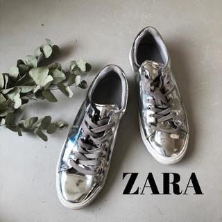 ザラ(ZARA)のZARA★メンズスニーカー シルバー ミラースニーカー(スニーカー)