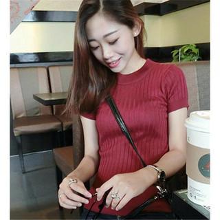 リブニット セーター 半袖 ニット ニットシャツ レッド(Tシャツ(半袖/袖なし))