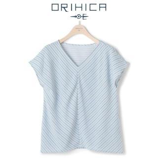 ORIHICA - L 今季新品 オリヒカ ストライプ Vネック ドレスアップブラウス