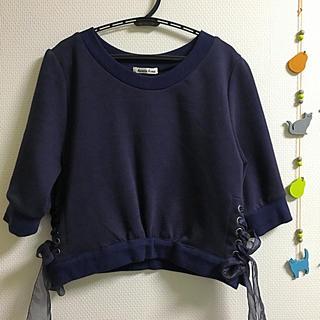 アンティローザ(Auntie Rosa)のネイビー七分袖トップス(Tシャツ(長袖/七分))
