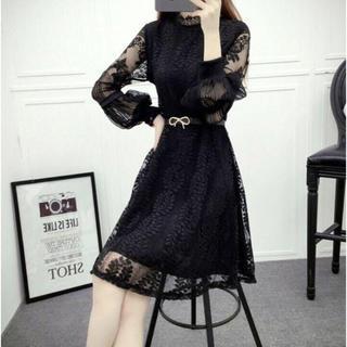 ☆パフスリーブ☆  パーティードレス  ワンピース  ドレス  ブラック(ミディアムドレス)