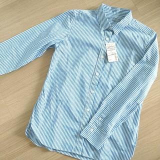 MUJI (無印良品) - 無印良品 ストライプシャツ Lサイズ オーガニックコットン 100%