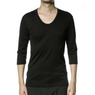 アタッチメント(ATTACHIMENT)のATTACHMENT シルキーフライス 七分袖 カットソー ブラック(Tシャツ/カットソー(七分/長袖))