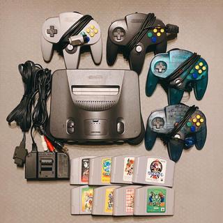 ニンテンドウ64(NINTENDO 64)の任天堂64 本体、コントローラーx4、ソフトx8(家庭用ゲーム機本体)