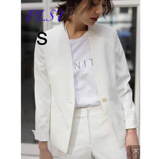 PLST - リネンブレンドカラーレスジャケット(オフホワイト)S