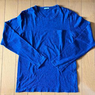 ジーユー(GU)のGU インディゴ ロング Tシャツ メンズ S(Tシャツ/カットソー(七分/長袖))