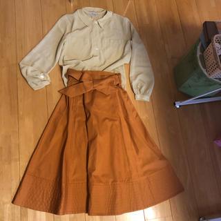 Ungrid - 深みオレンジスカート シャツセット コーデ