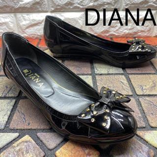 ダイアナ(DIANA)のDIANA ダイアナ エナメル フラットシューズ リボン(バレエシューズ)