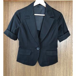 INDIVI - 【未使用に近い】テーラードジャケット半袖黒ジャケット9号 トラッド リモート会議