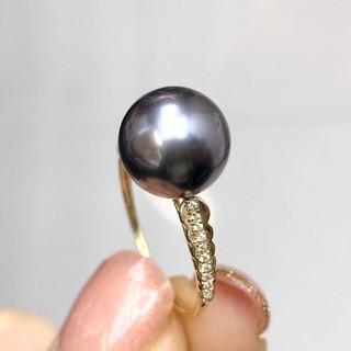 【高級】天然タヒチ黒蝶真珠 リング9-10mm k18(リング(指輪))