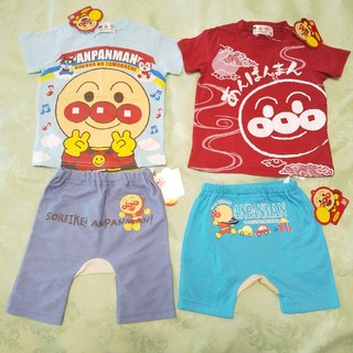アンパンマン 新品半袖Tシャツ2枚とモンキーパンツボトム2枚の4点セット 80(Tシャツ)