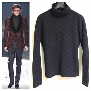 Gucci - 本物 グッチ GGモノグラム ハイネック セーター L カシミア シルク 紫 黒