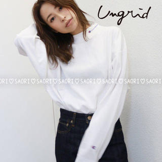 Ungrid - ungrid【美品】Champion ハイネックショートロングスリーブTee