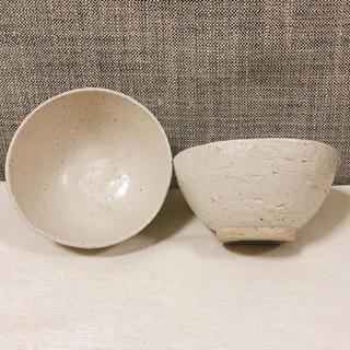 IDEE - 作家さん手作り 茶碗 飯碗 アイボリー オフホワイト 貫入 釉薬 焼き物 作家物