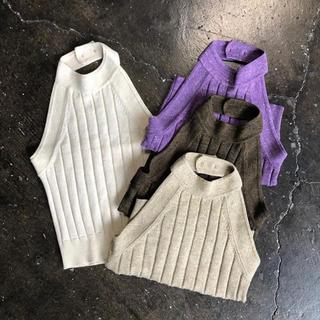 【 juemi 】Short American Sleeve Knit(ホルターネック)
