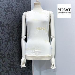 ヴェルサーチ(VERSACE)のヴェルサーチ  ◆ イタリア製 オフホワイト ロゴ タンクトップ トップス(Tシャツ(半袖/袖なし))