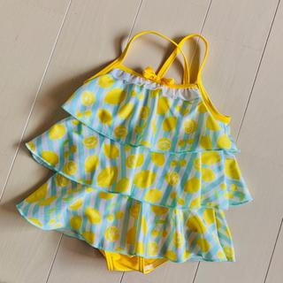 【美品】レモン柄フリル水着 80 女の子 プール スイムウェア 夏 水遊び 海