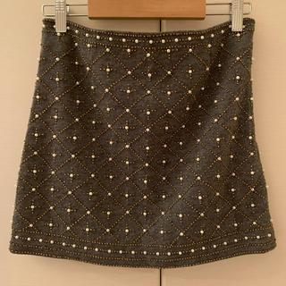 アングリッド(Ungrid)のungrid パール刺繍ミニスカート ニットスカート (ミニスカート)