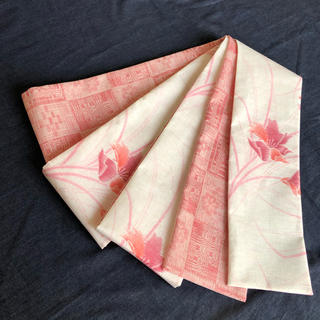 半幅帯 春夏用 麻サマーウール×御召ウール(浴衣帯)