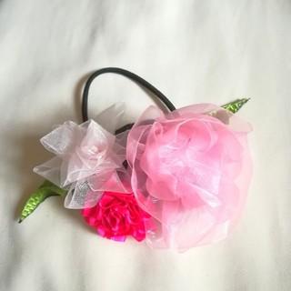 ラッピング無料☆ピンクの薔薇とカーネーション、ダリアのヘアゴム  リボンフラワー(ヘアアクセサリー)