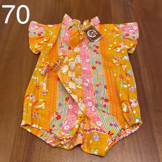 シマムラ(しまむら)の新品 浴衣 甚平 ロンパース 女の子 ベビー 赤ちゃん 70 夏(甚平/浴衣)